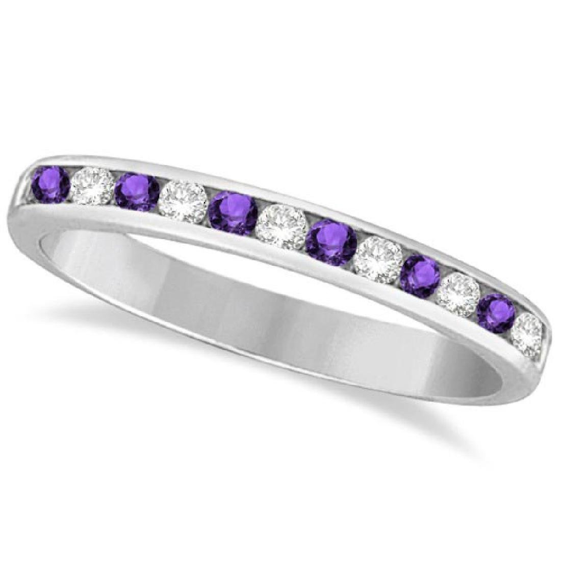 Amethyst and Diamond Semi-Eternity Channel Ring 14k Whi