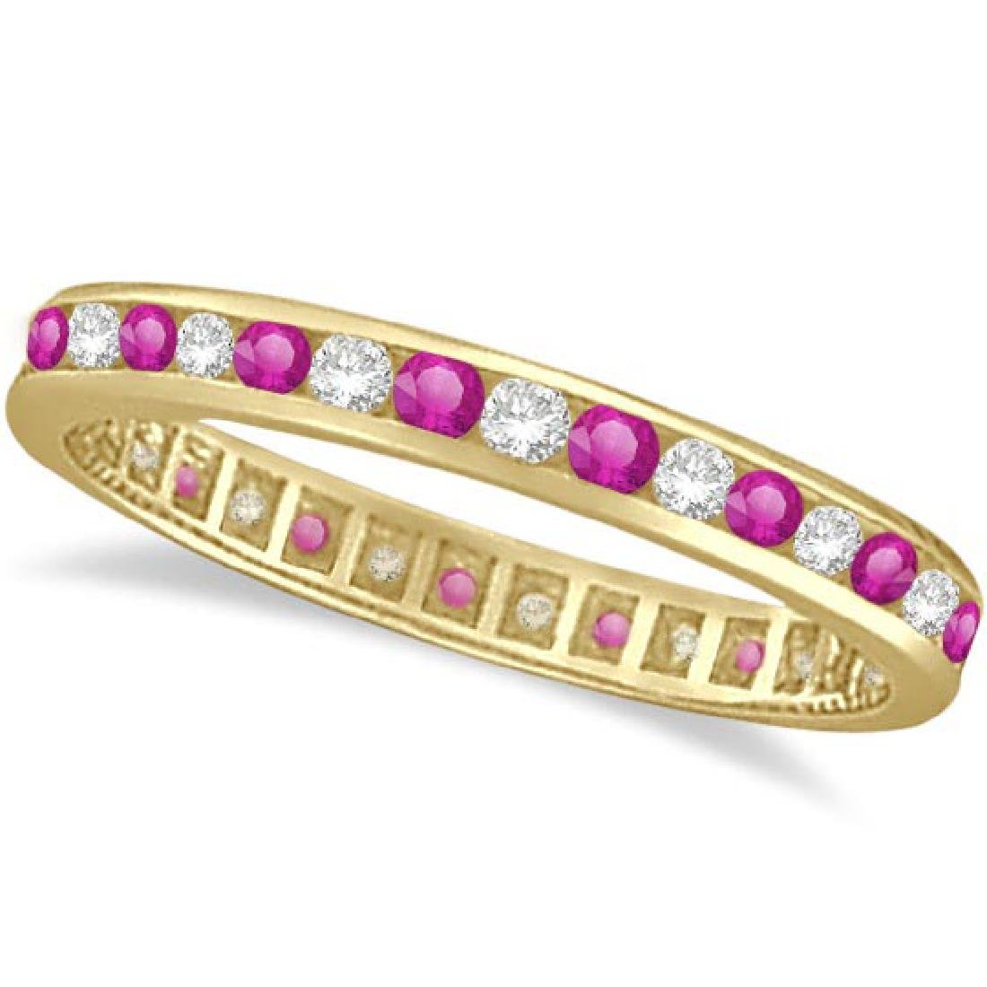Pink Sapphire and Diamond Channel Set Eternity Band 14k