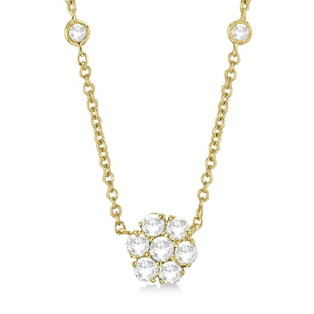 Flower Pendant Diamonds By The Yard Necklace 14k Yellow