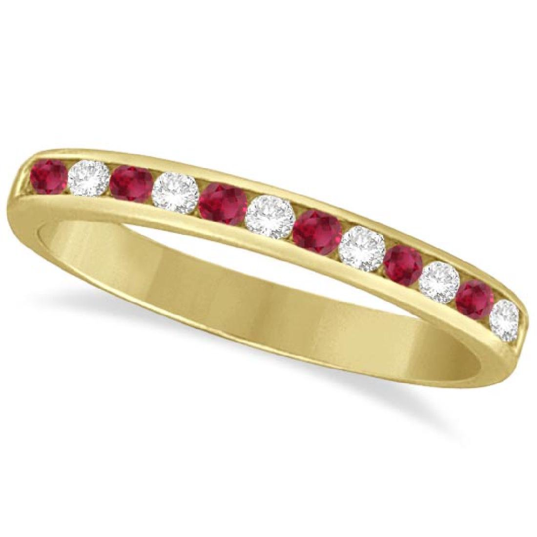 Ruby and Diamond Semi-Eternity Channel Ring 14k Yellow