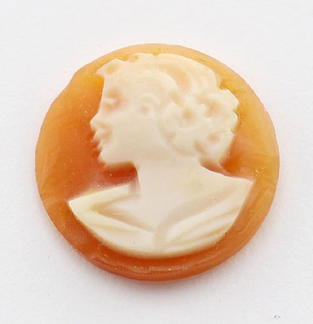 12 mm Round Hand Carved Italian Shell Cameo - Loose - U