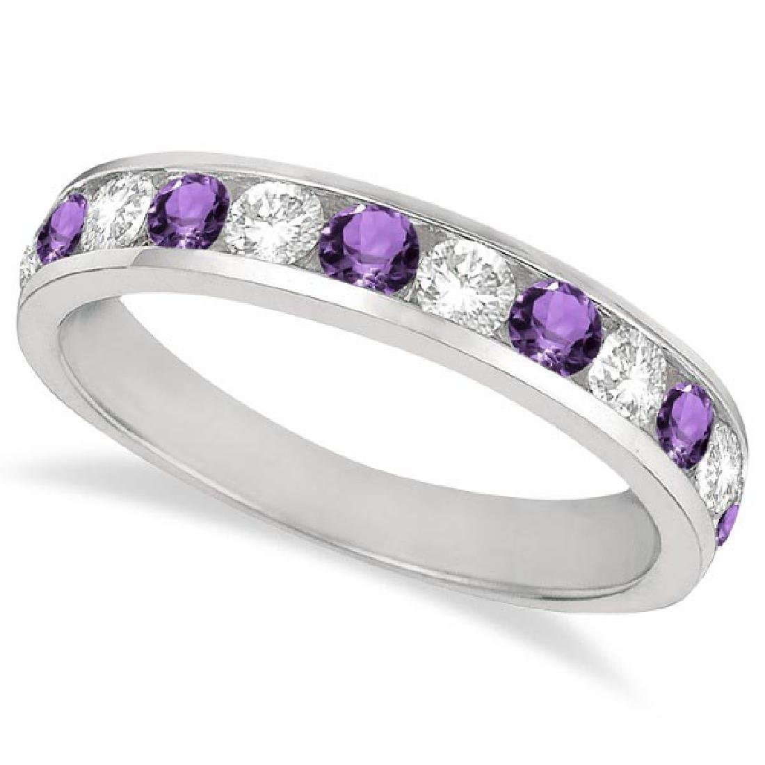 Channel-Set Amethyst and Diamond Ring Band 14k White Go