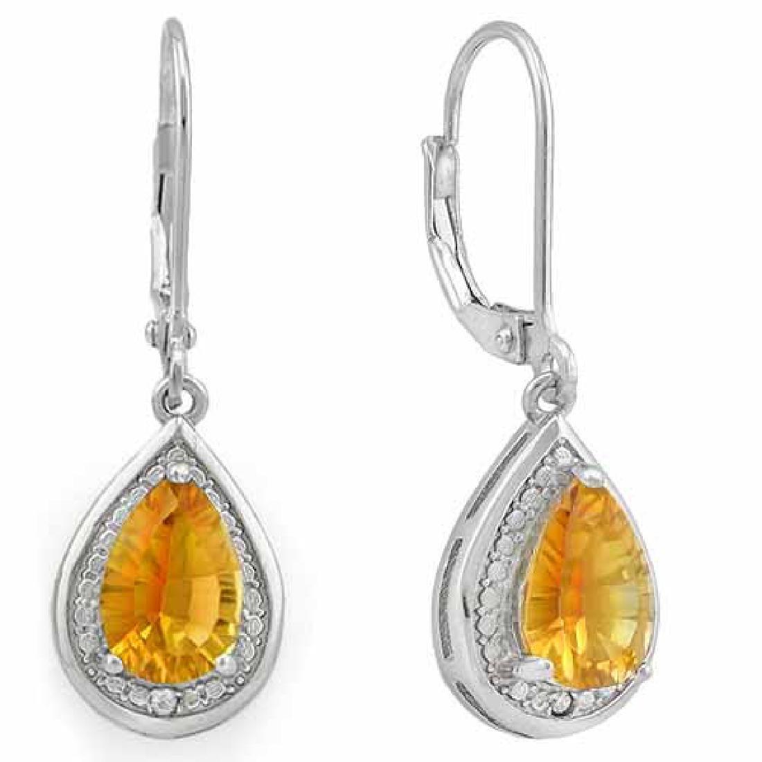 2 1/4 CARAT DARK CITRINE & DIAMOND 925 STERLING SILVER