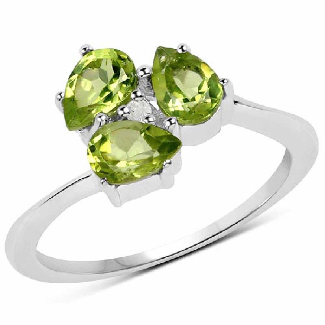 1.22 Carat Genuine Peridot and White Diamond .925 Sterl