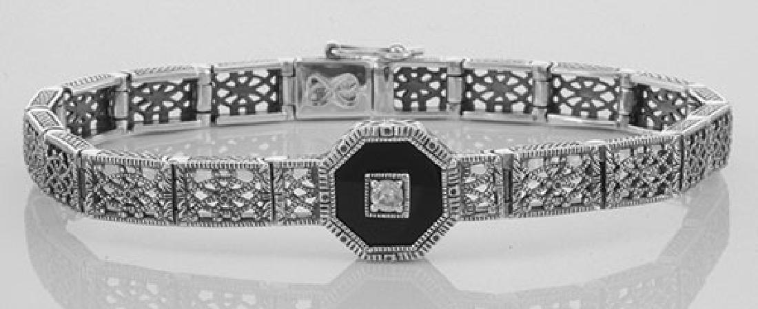 Art Deco Style Black Onyx and Diamond Filigree Link Bra