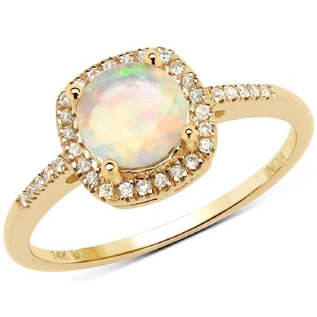 0.60 Carat Genuine Ethiopian Opal and White Diamond 14K