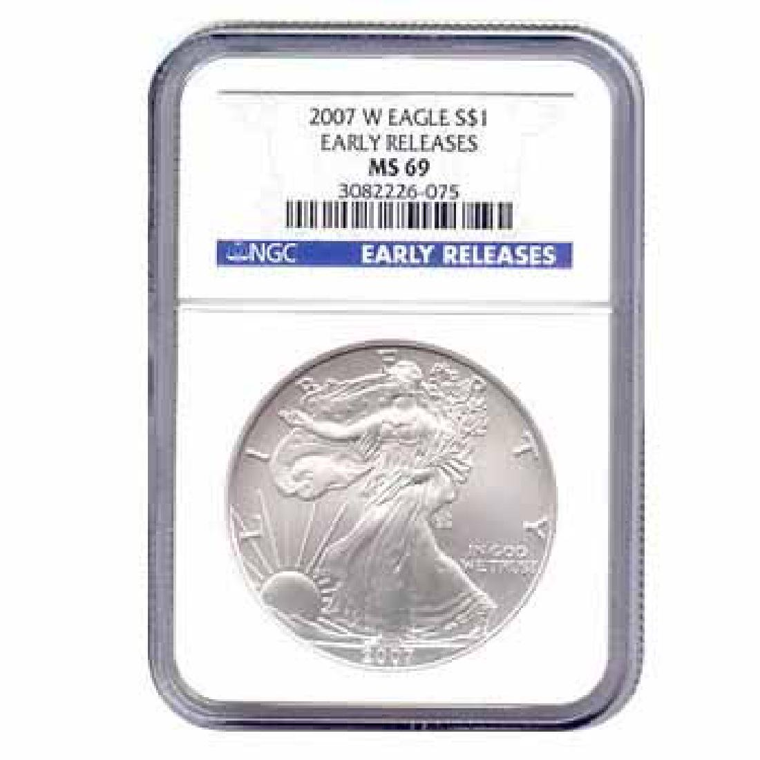 Burnished 2007-W Silver Eagle MS69 NGC Early Release