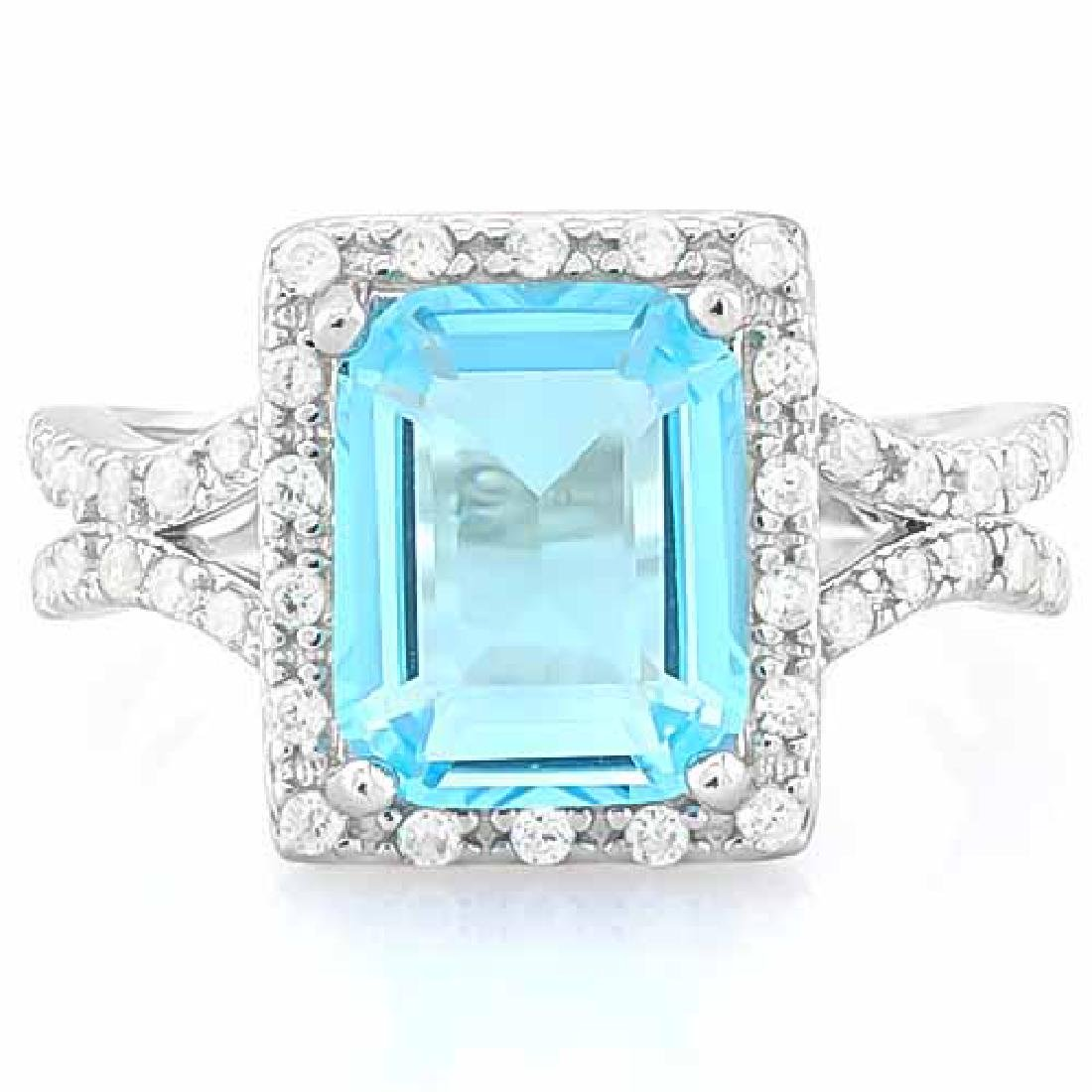 4 CARAT CREATED BLUE TOPAZ & 3 4/5 CARAT (38 PCS) FLAWL