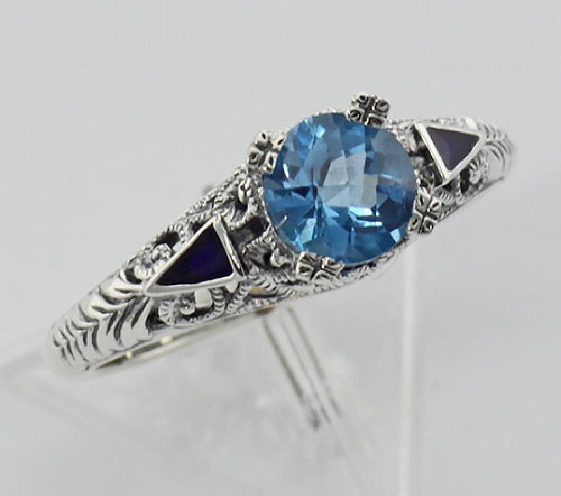Art Deco London Blue Topaz Ring and Enamel - Sterling S