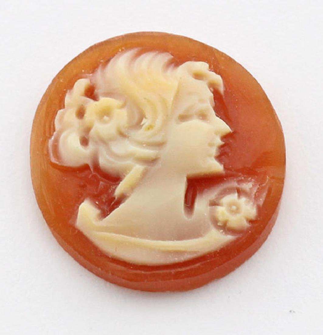 14 mm Round Hand Carved Italian Shell Cameo - Loose - U
