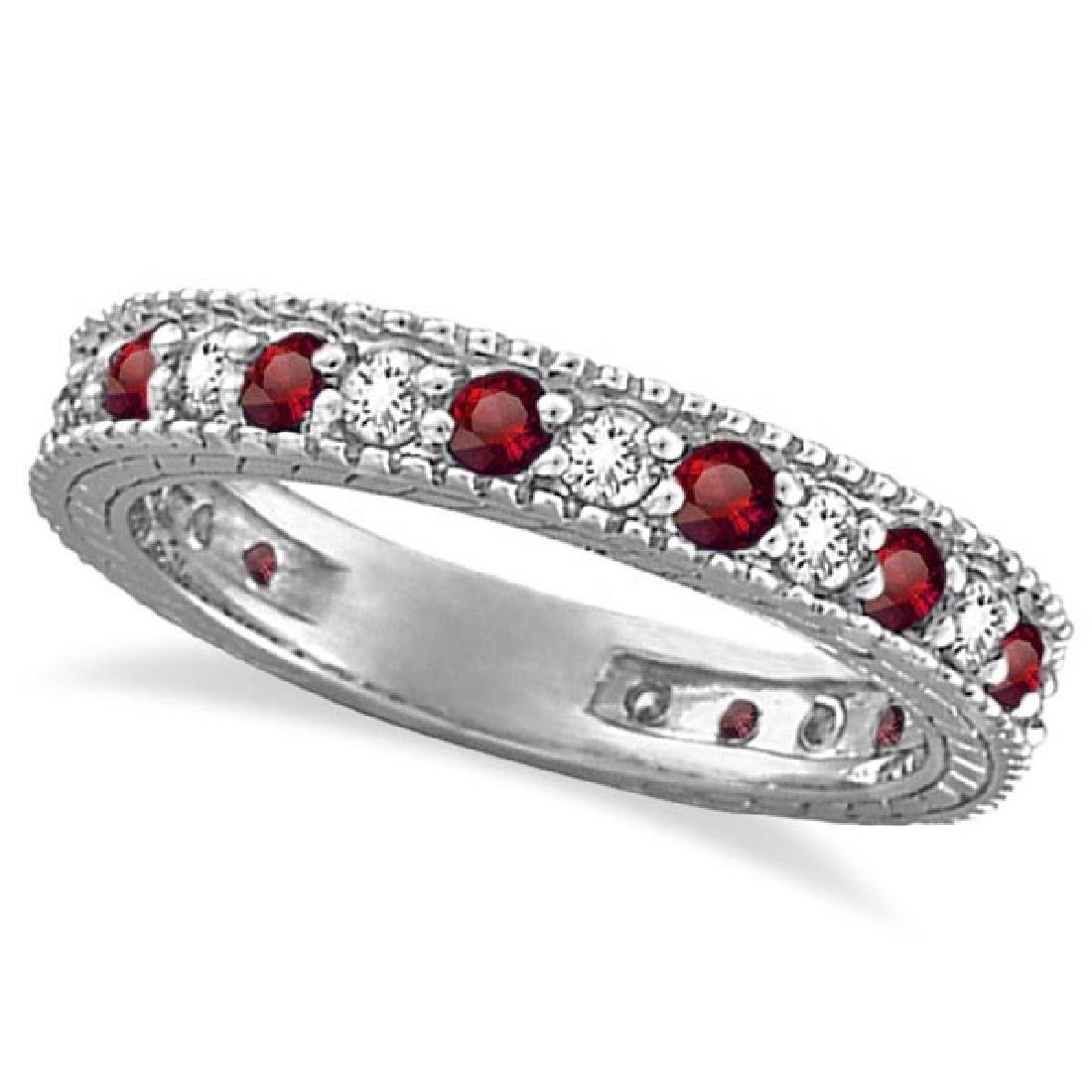 Diamond and Garnet Eternity Ring Filigree Band 14k Whit