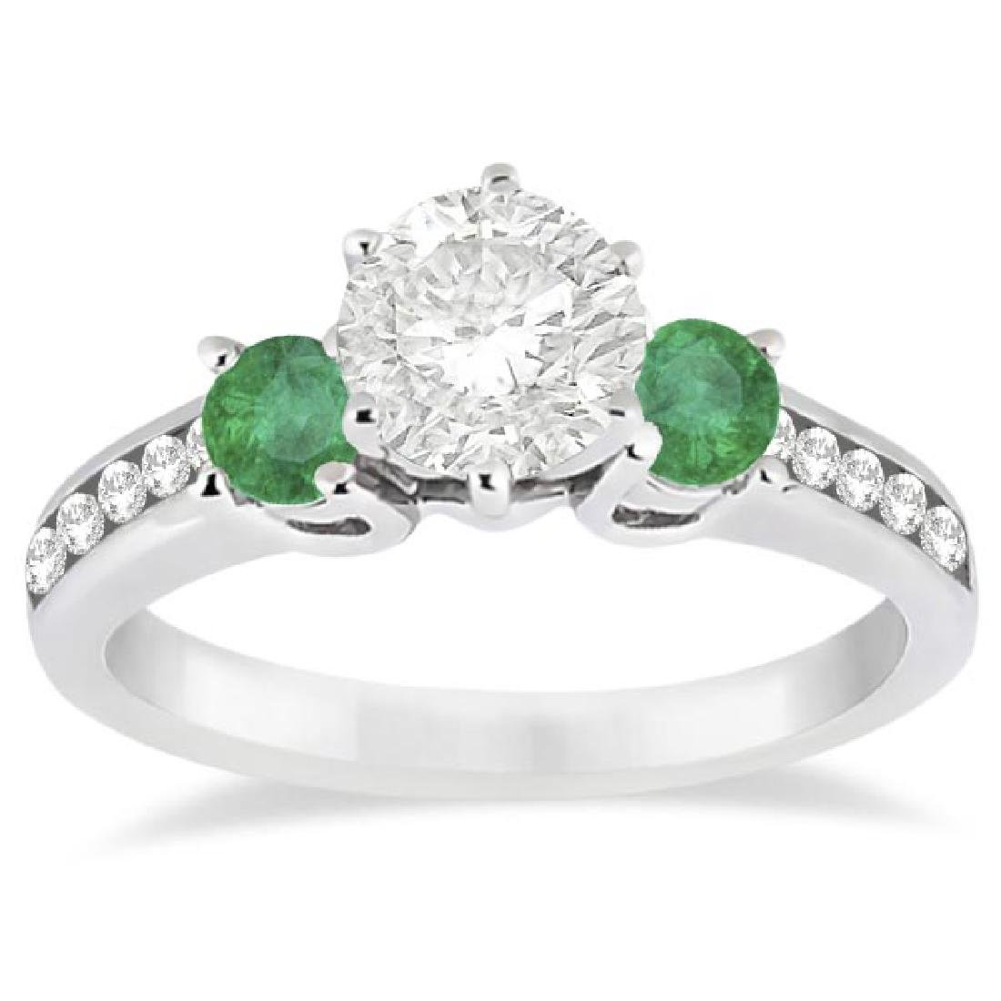 Three-Stone Emerald and Diamond Engagement Ring 14k Whi