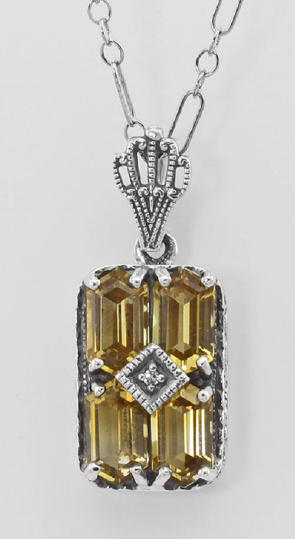 Art Deco Citrine Filigree Diamond Pendant w/ 18 in. Cha