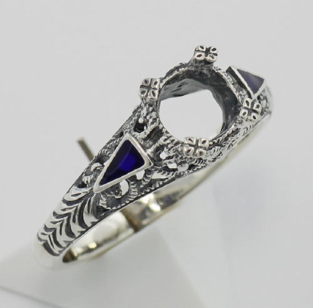 Semi Mount Art Deco Style Ring Enamel Accents - Sterlin