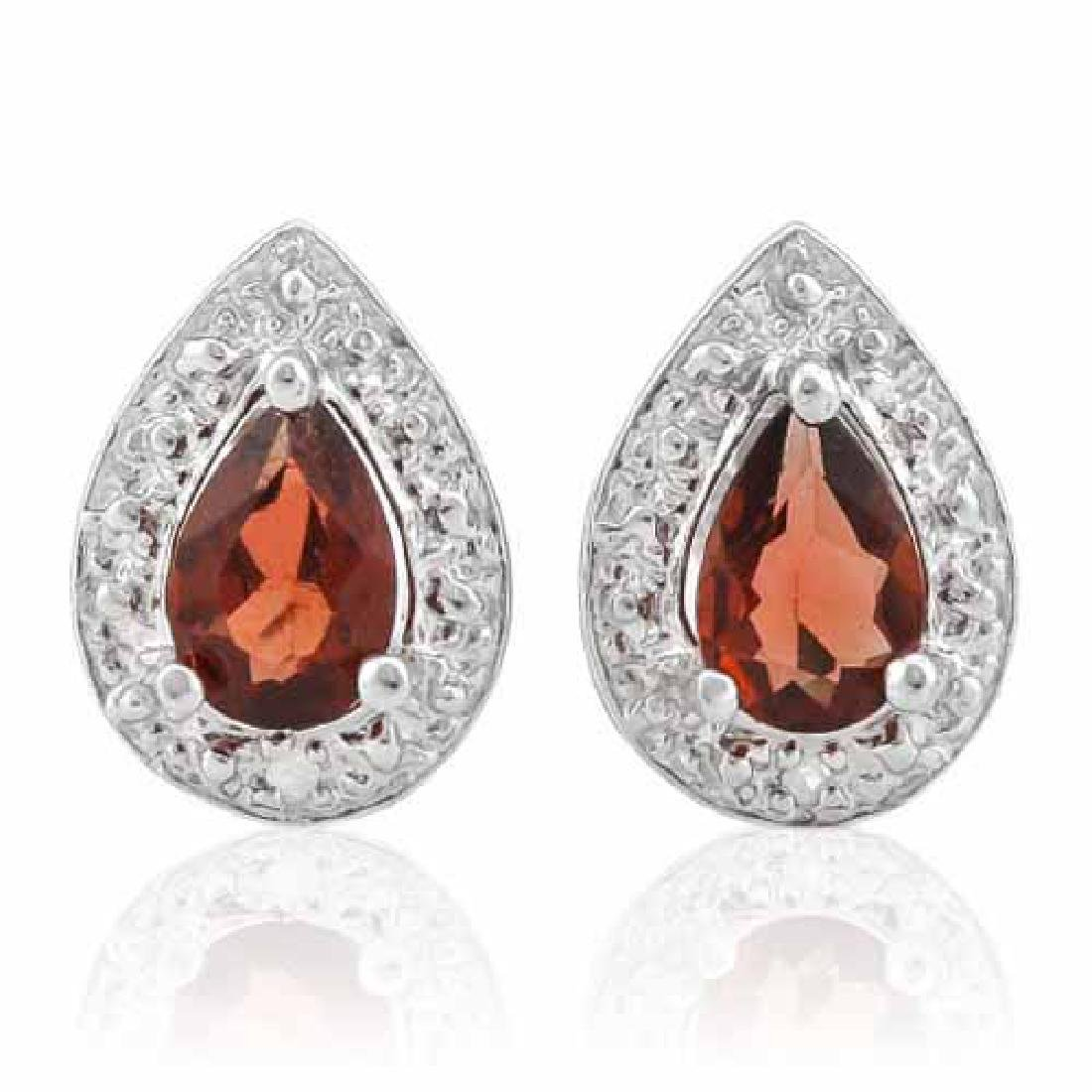 4/5 CARAT GARNET & DIAMOND 925 STERLING SILVER EARRINGS