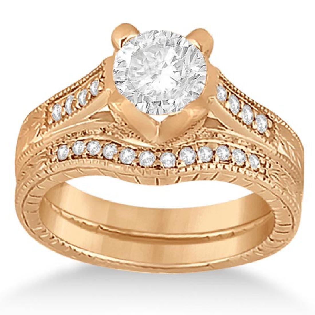 Antique Style Engagement Ring and Band in 14k Rose Gold
