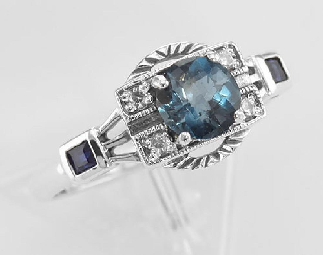 Sterling Silver London Blue Topaz / Sapphire / CZ Filig