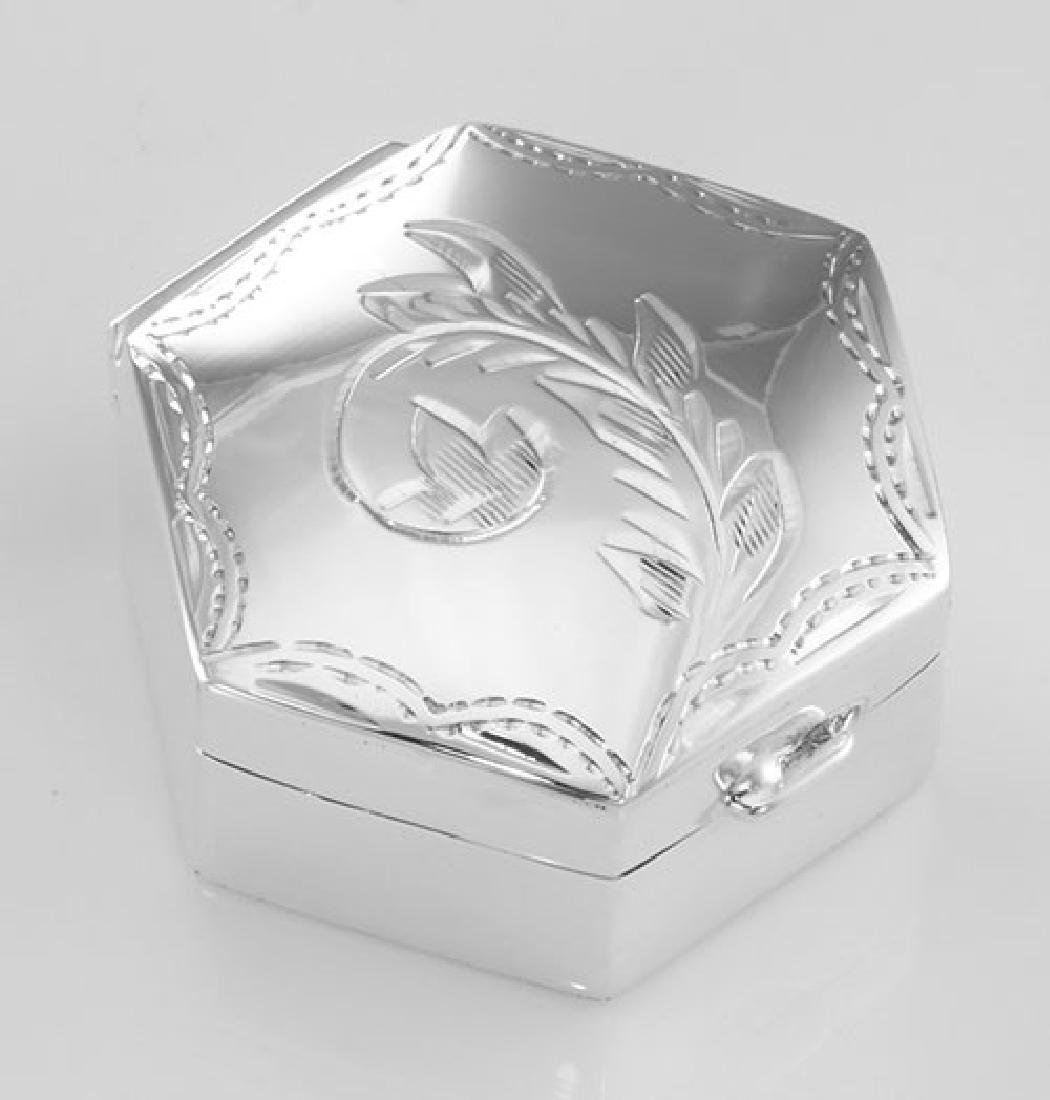 Small Hexagon Shaped Sterling Silver Pillbox with Engra