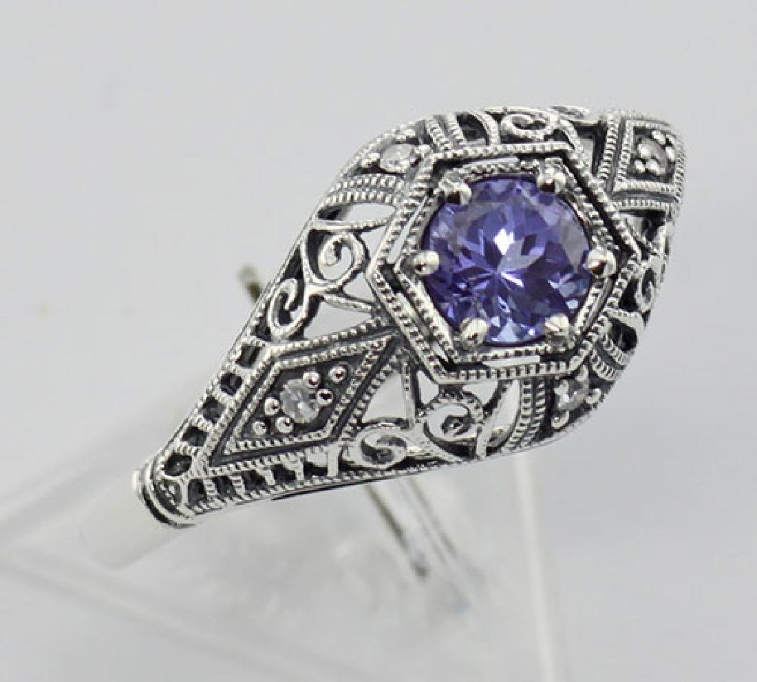 Tanzanite Filigree Ring Art Deco Style w/ 4 Diamonds -