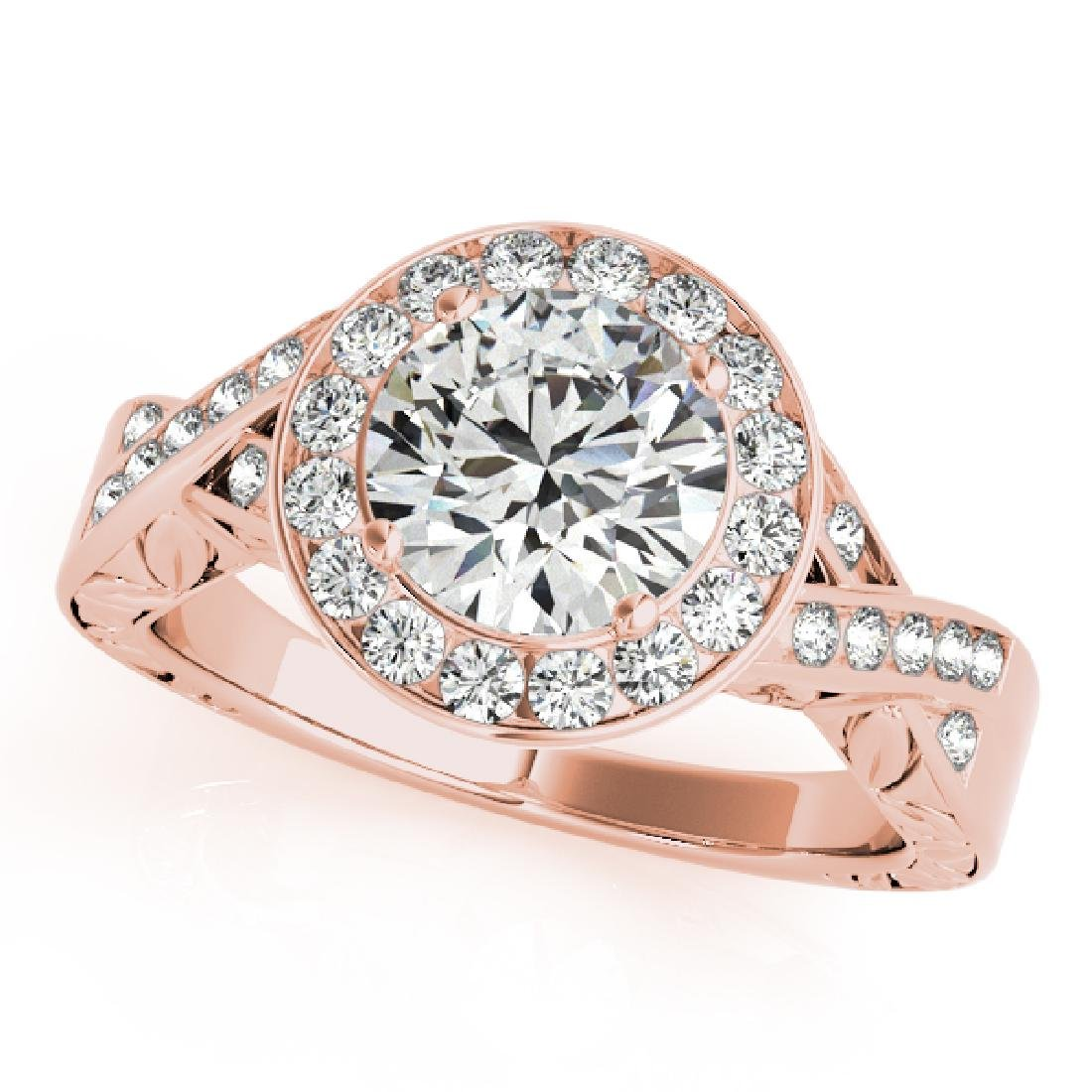 CERTIFIED 18K ROSE GOLD 1.01 CT G-H/VS-SI1 DIAMOND HALO