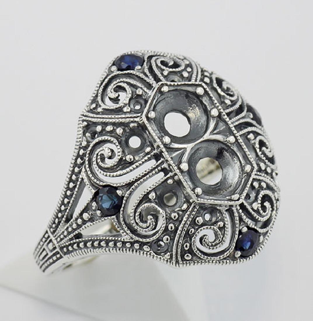 Semi Mount / Sapphire Filigree Ring - Art Deco Style -
