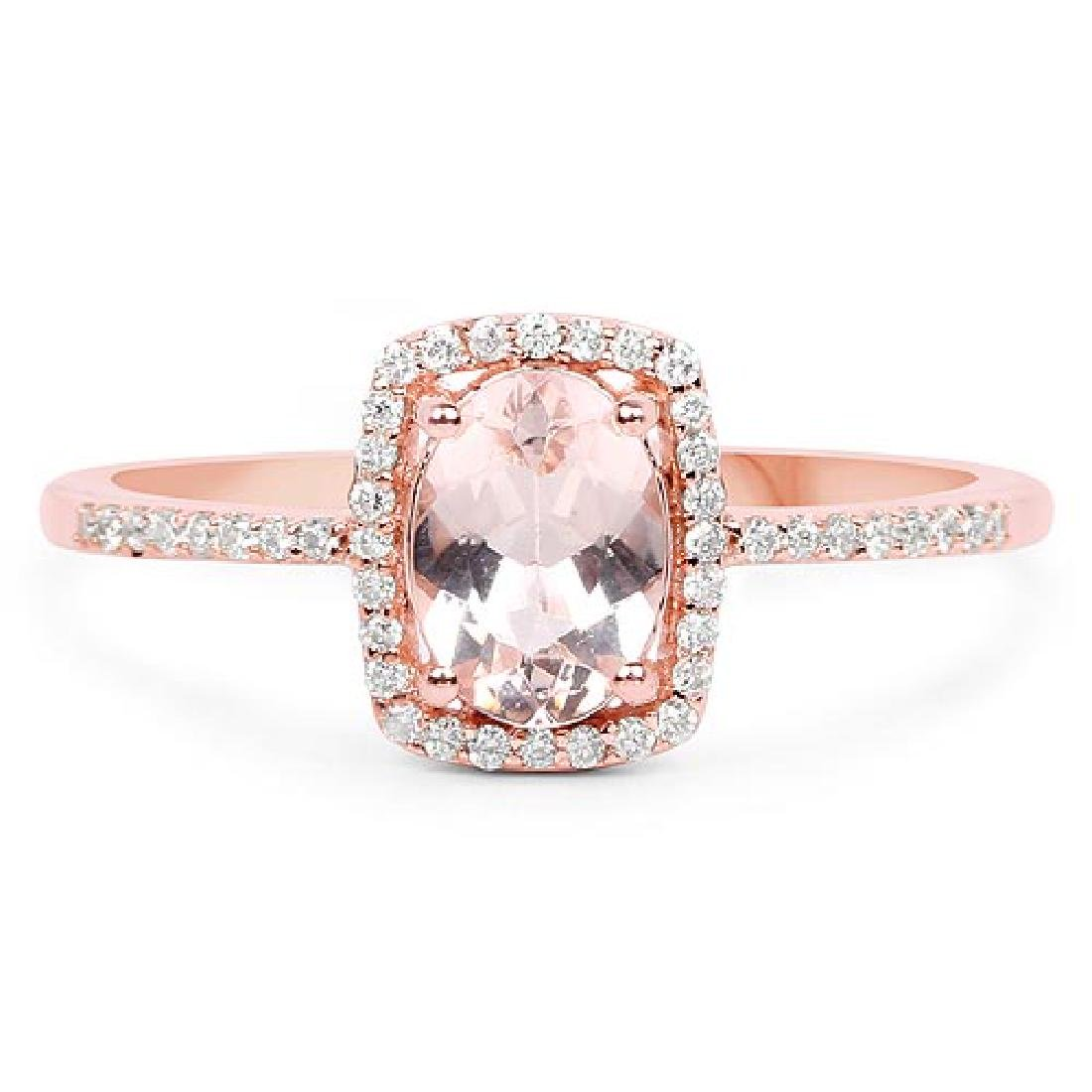 0.83 Carat Genuine Morganite and White Diamond 14K Rose