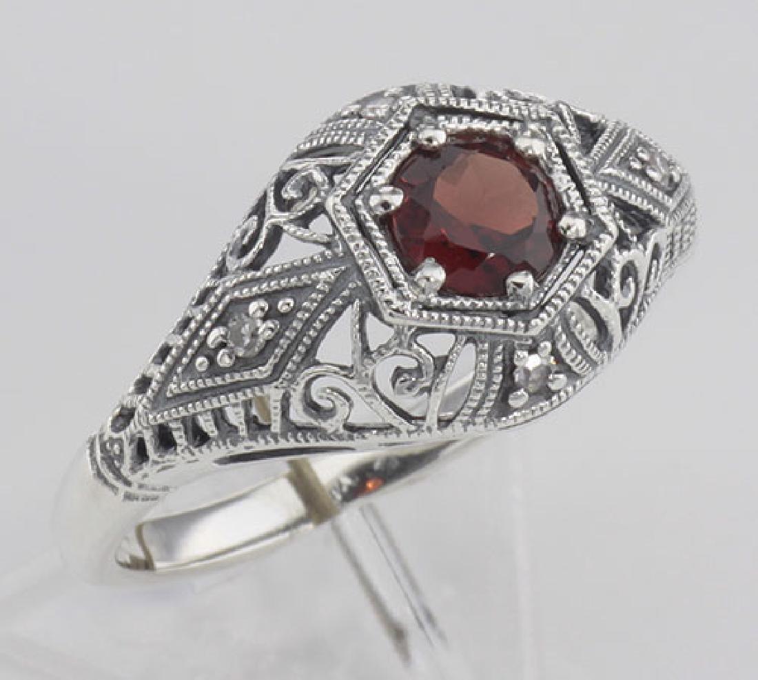 Art Deco Style Garnet Filigree Ring w/ 4 Diamonds - Ste