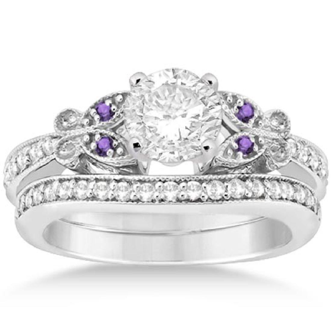 Butterfly Diamond and Amethyst Bridal Set 18k White Gol