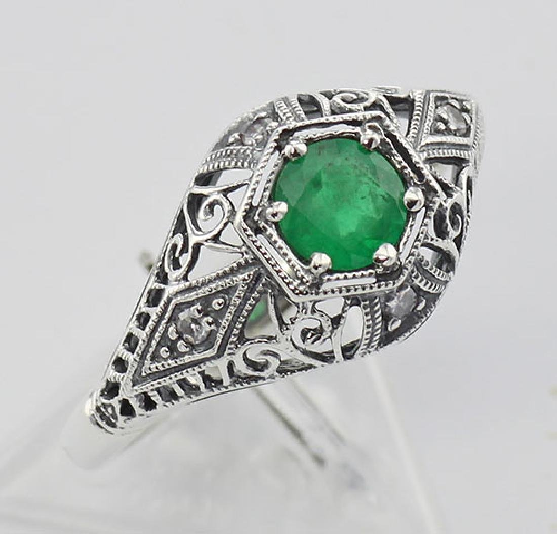 Emerald Filigree Ring Art Deco Style w/ 4 Diamonds - St