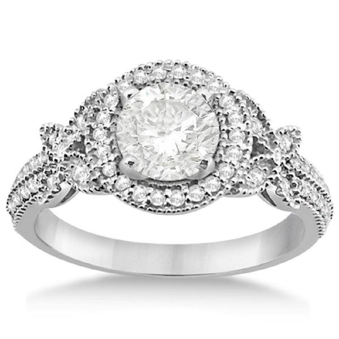 Halo Diamond Butterfly Engagement Ring 14k White Gold (