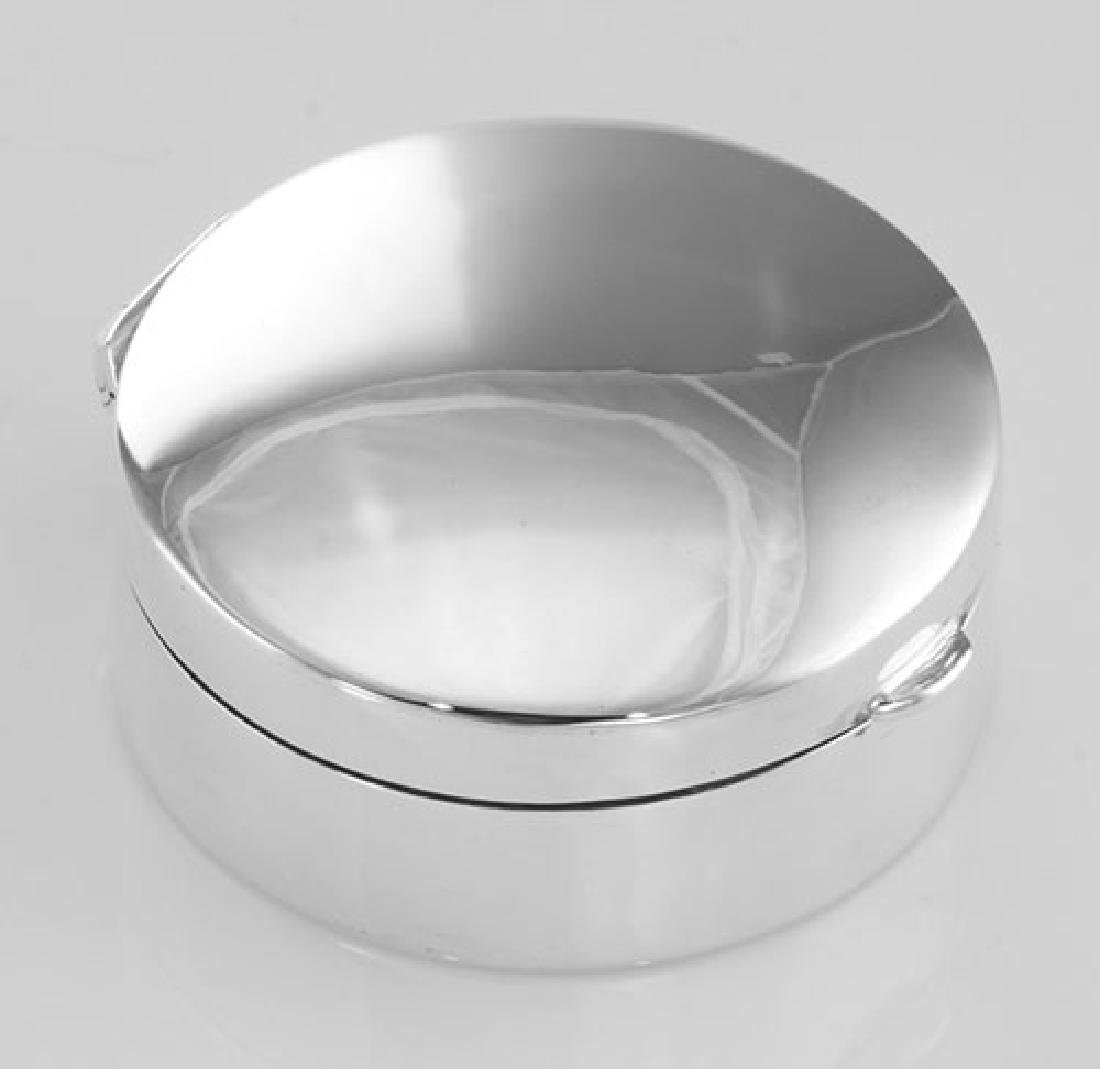 Small Classic Engravable Round Sterling Silver Pillbox
