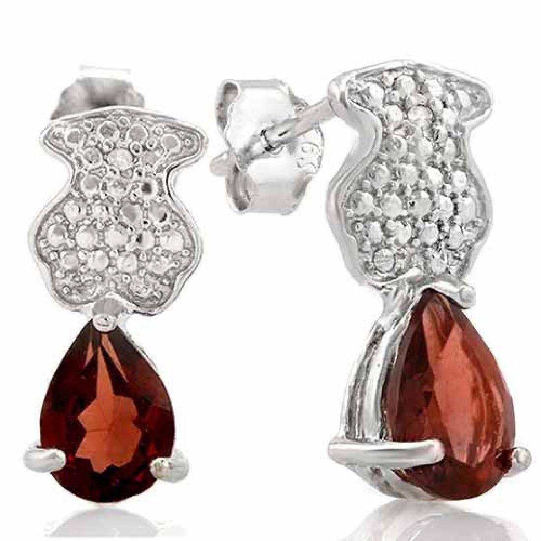 1 2/5 CARAT GARNET & DIAMOND 925 STERLING SILVER EARRIN