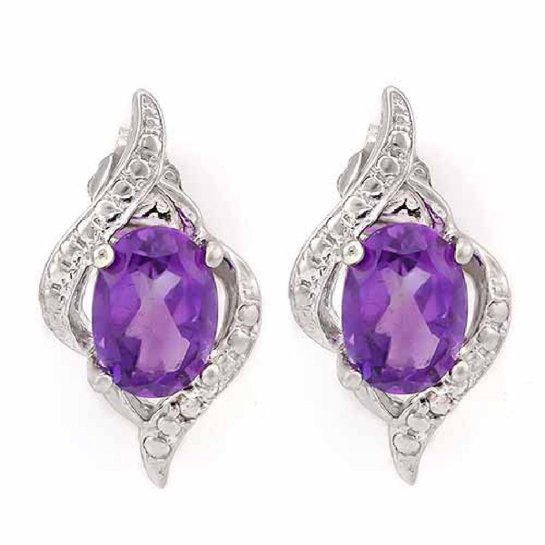 1 1/3 CARAT AMETHYST & DIAMOND 925 STERLING SILVER EARR