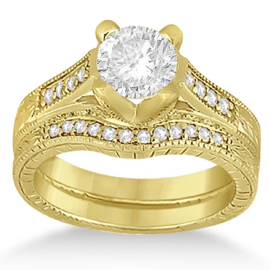 Antique Style Engagement Ring Set 18k Yellow Gold 1.10