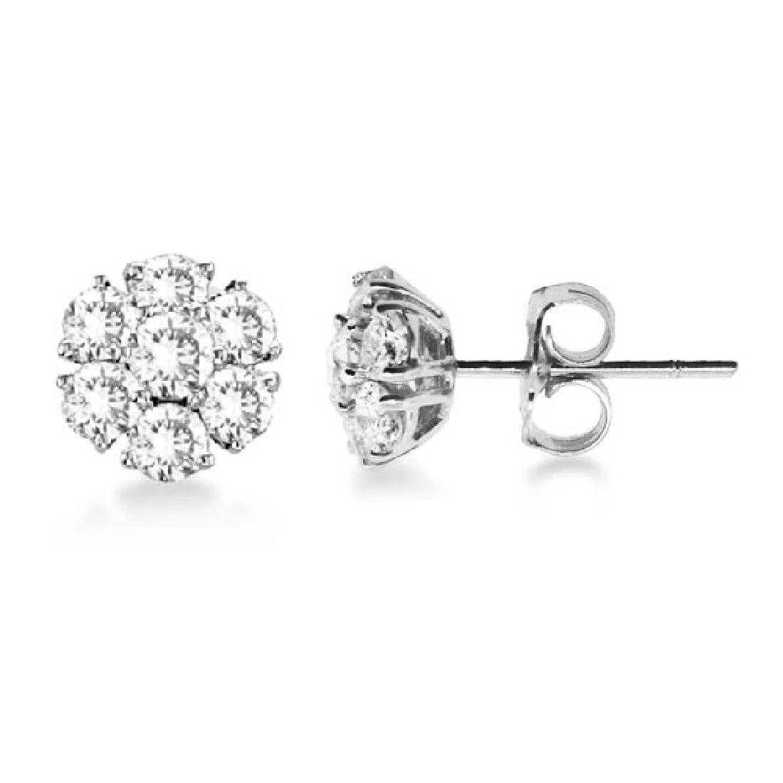 Diamond Flower Cluster Earrings in 14K White Gold (1.20