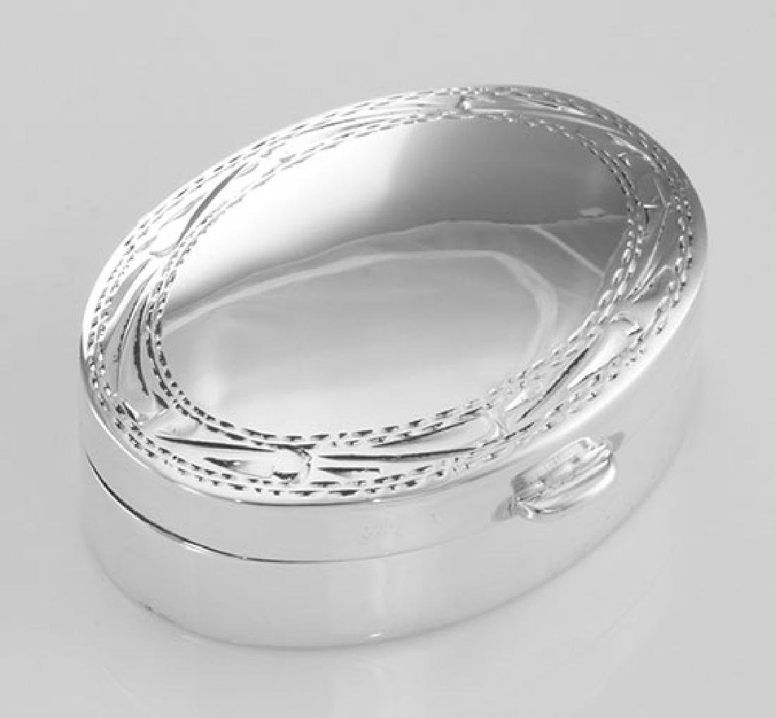 Small Sterling Silver Oval Pillbox w/ Engraved Border D