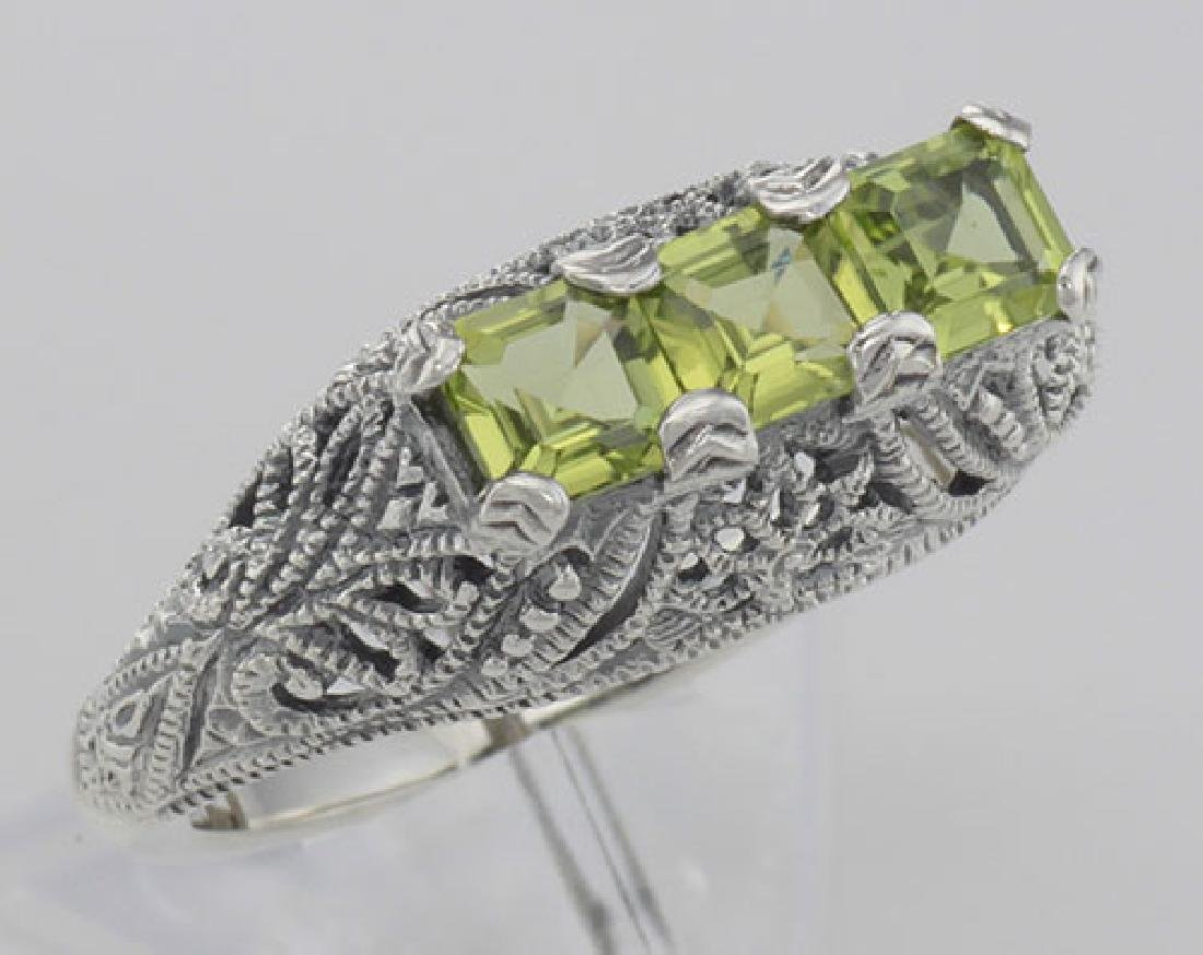 Art Deco Style Sterling Silver Filigree Ring 3 Princess