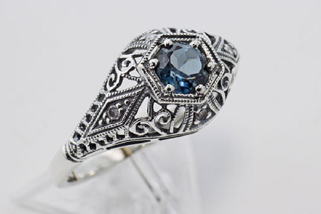 Art Deco Style London Blue Topaz & Diamond Ring - Sterl