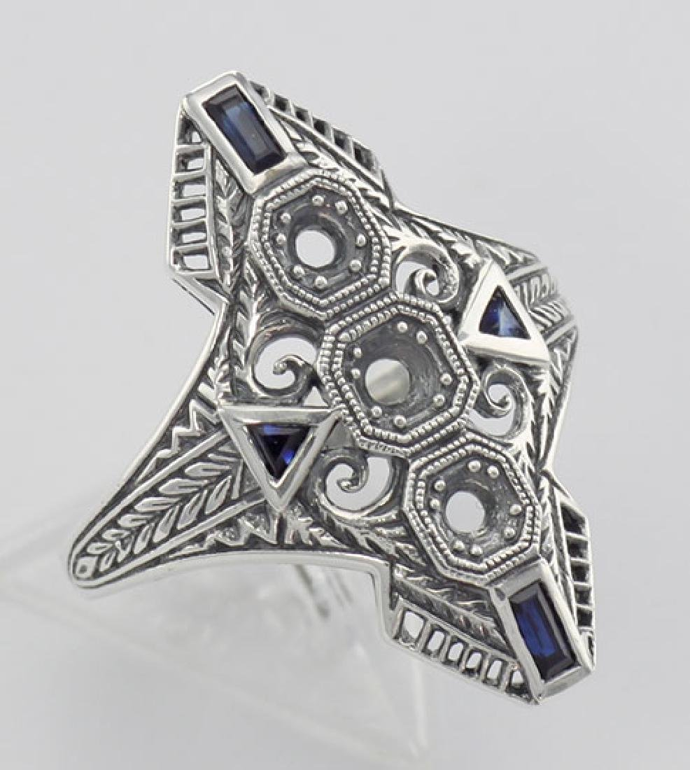 Art Deco Style Filigree Semi Mount Ring w/ Sapphires St