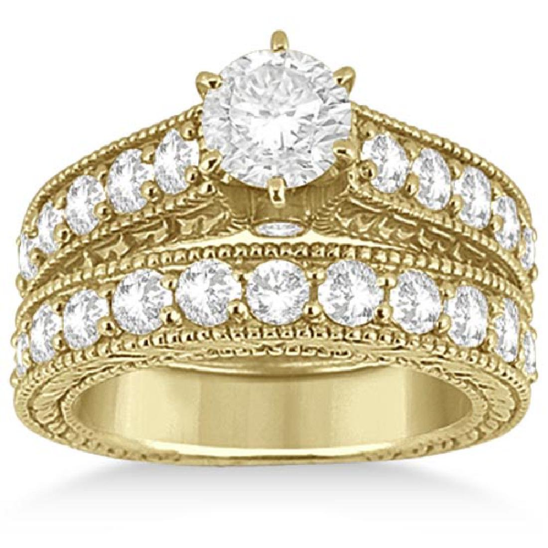 Diamond Wedding and Engagement Ring Set 14k Yellow Gold
