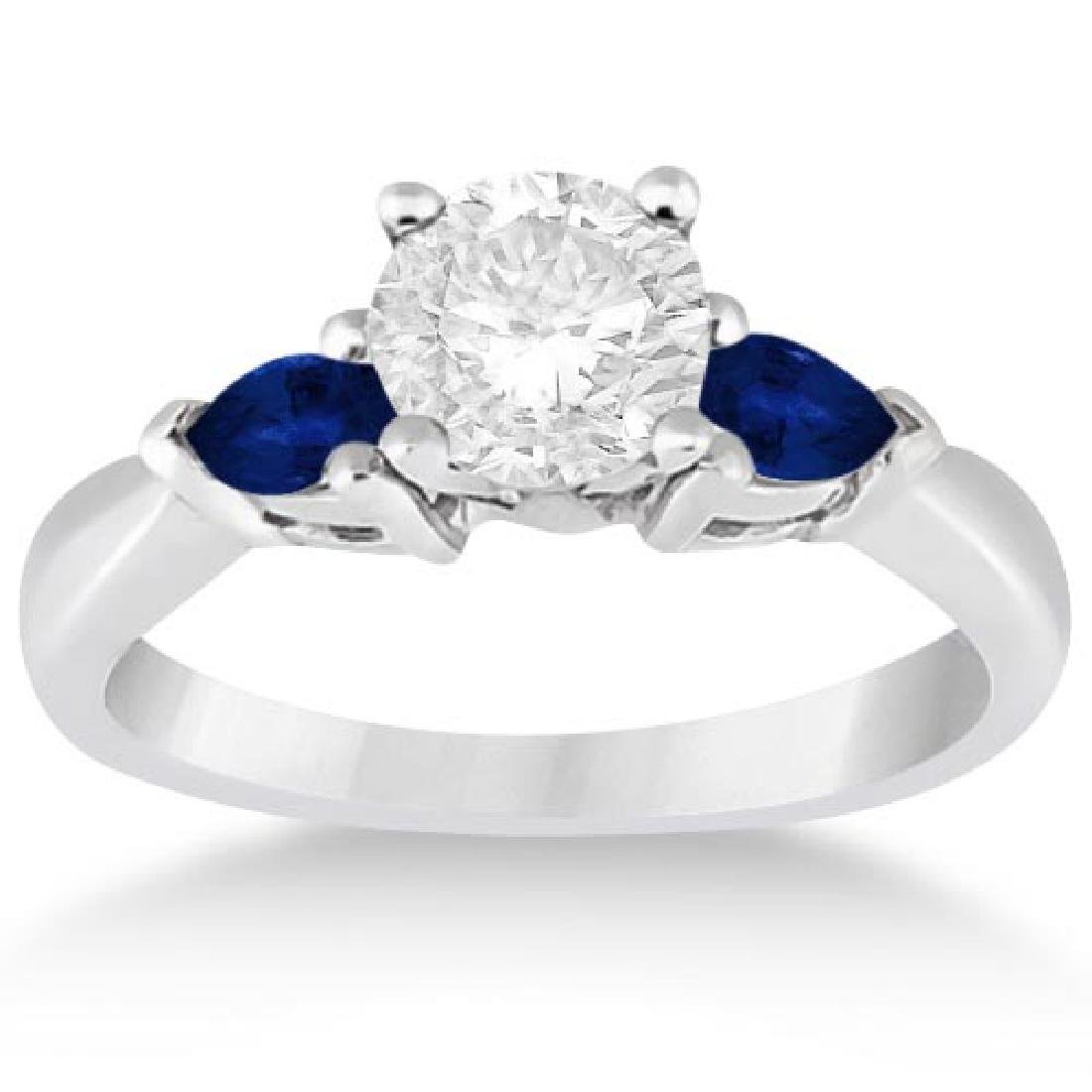 Pear Three Stone Blue Sapphire Engagement Ring 14k Whit