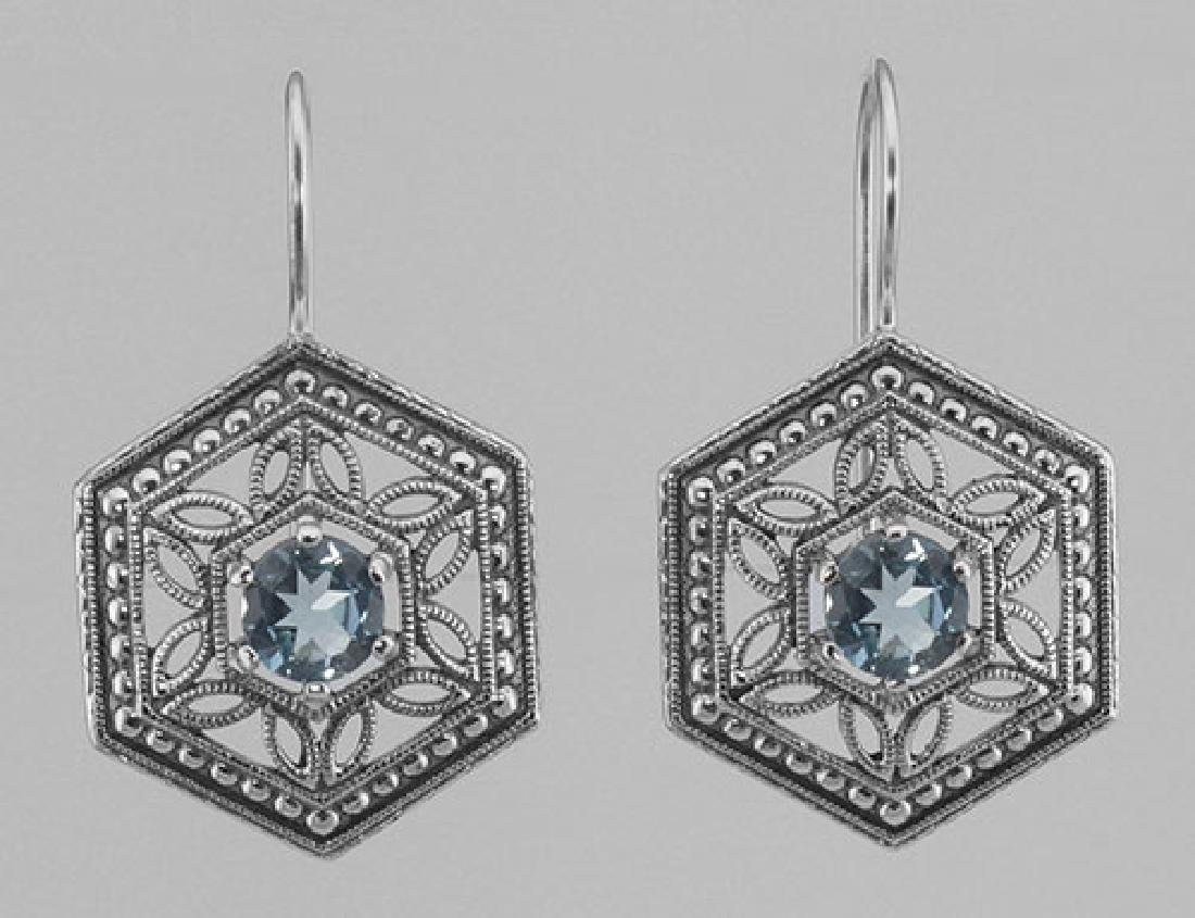 Art Deco Style Blue Topaz Filigree Earrings - Sterling
