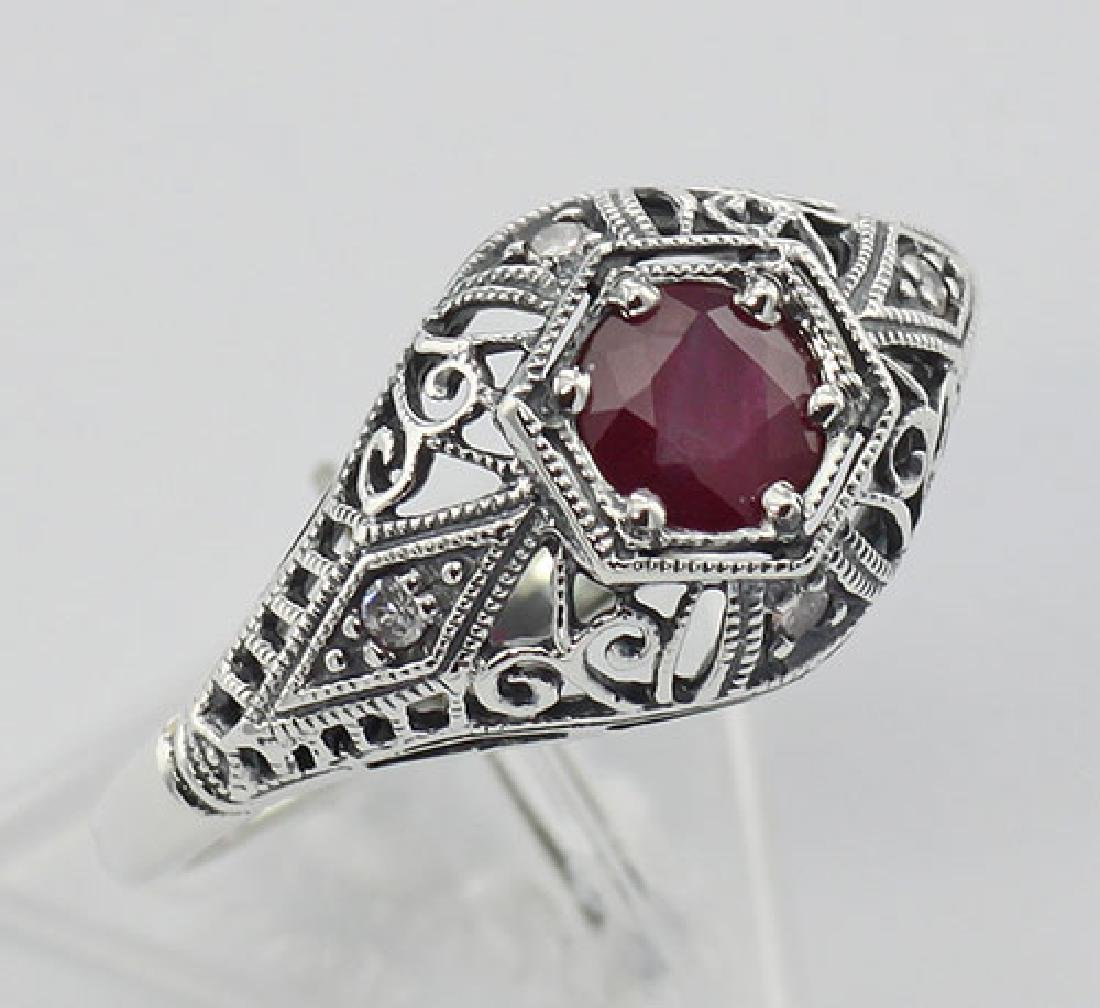 Ruby Filigree Ring Art Deco Style w/ 4 Diamonds - Sterl