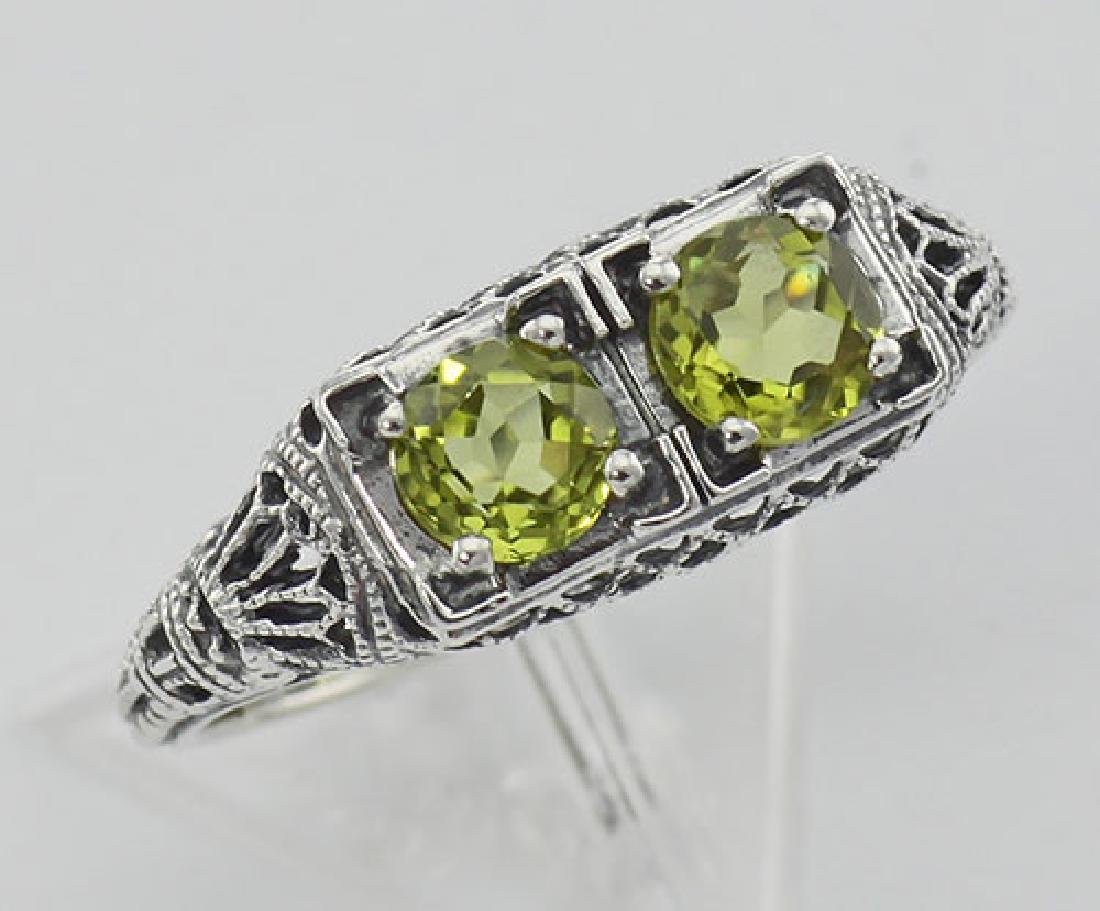 Art Deco Style Green Peridot Gemstone Ring Sterling Sil
