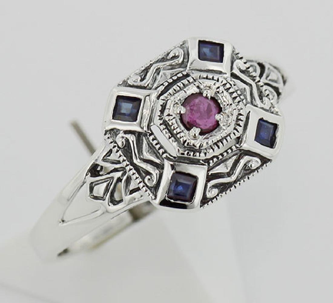 Sapphire / Ruby Filigree Ring - Deco Style - Sterling S