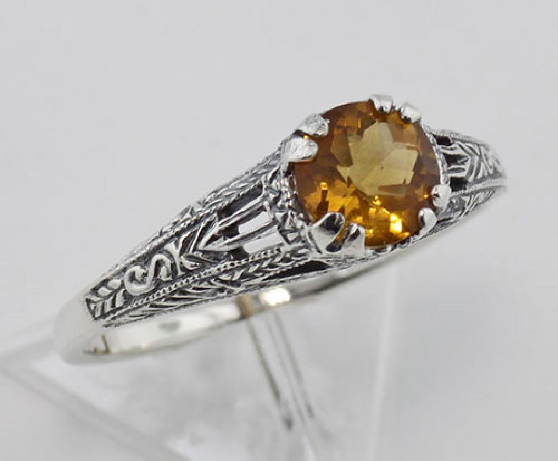 Citrine Filigree Ring - Sterling Silver