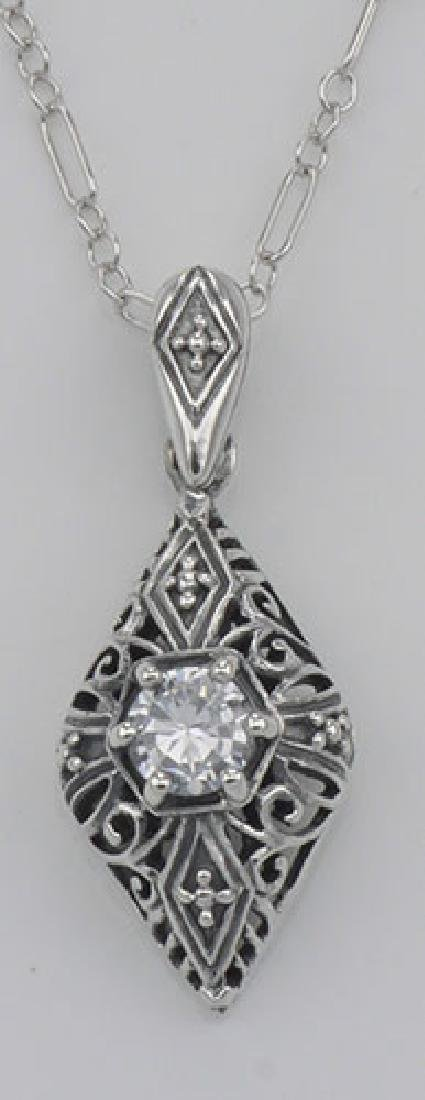 Victorian Style Cubic Zirconia Filigree Pendant with Ch