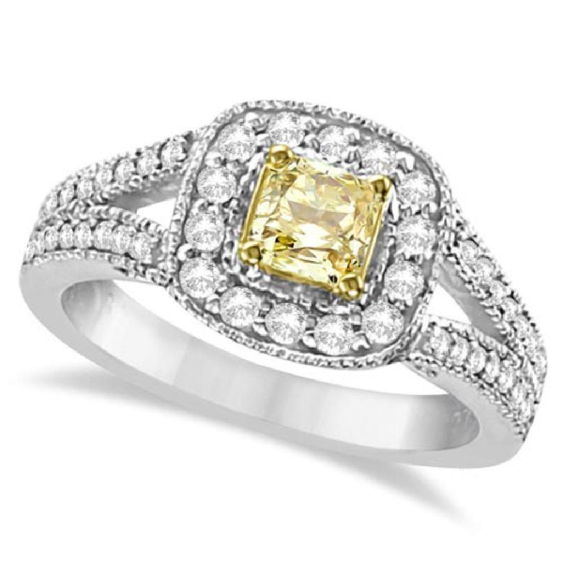 Yellow Diamond Radiant Millgrain-Edge Ring 14k White Go