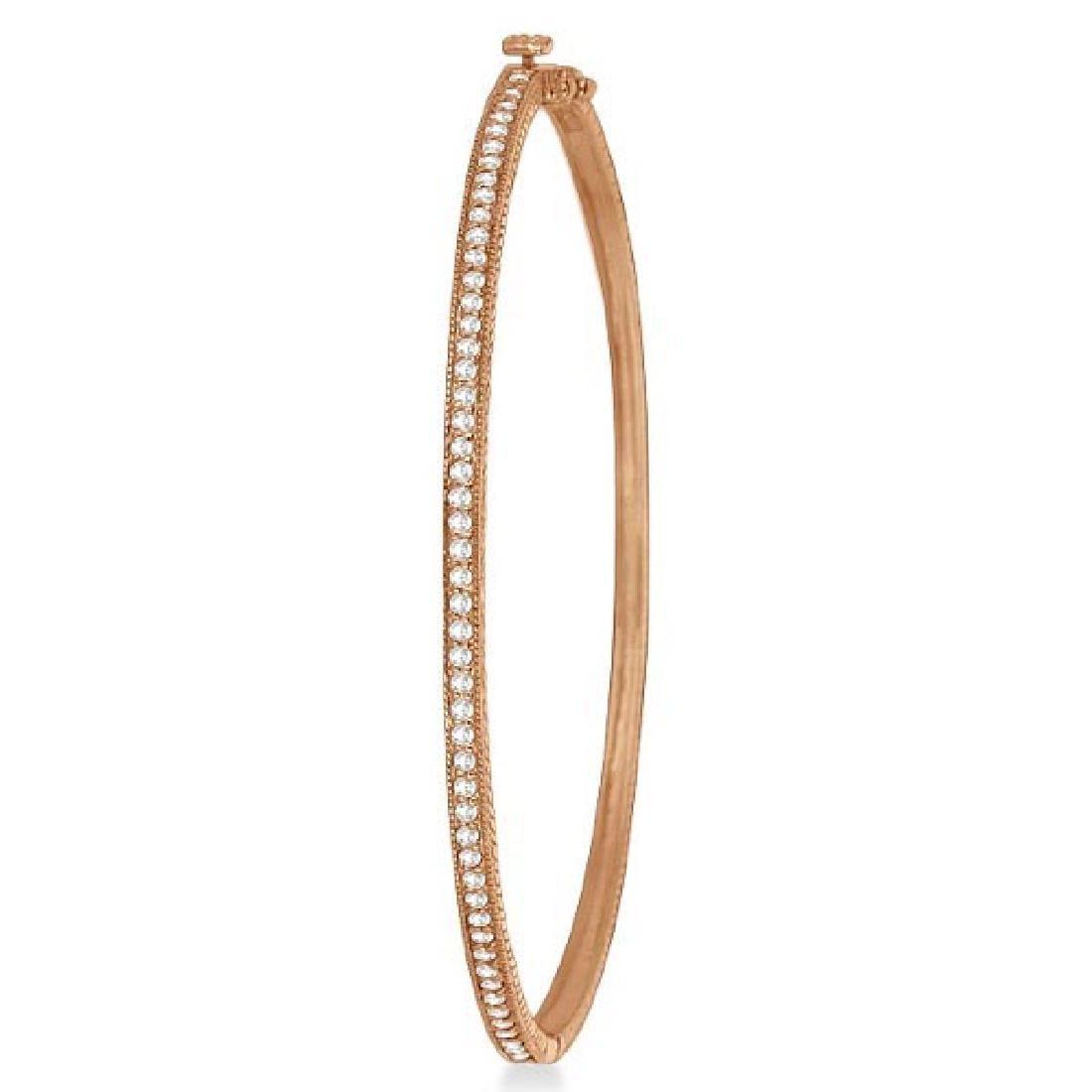 Milgrain Edged Diamond Bangle Bracelet 14k Rose Gold (0