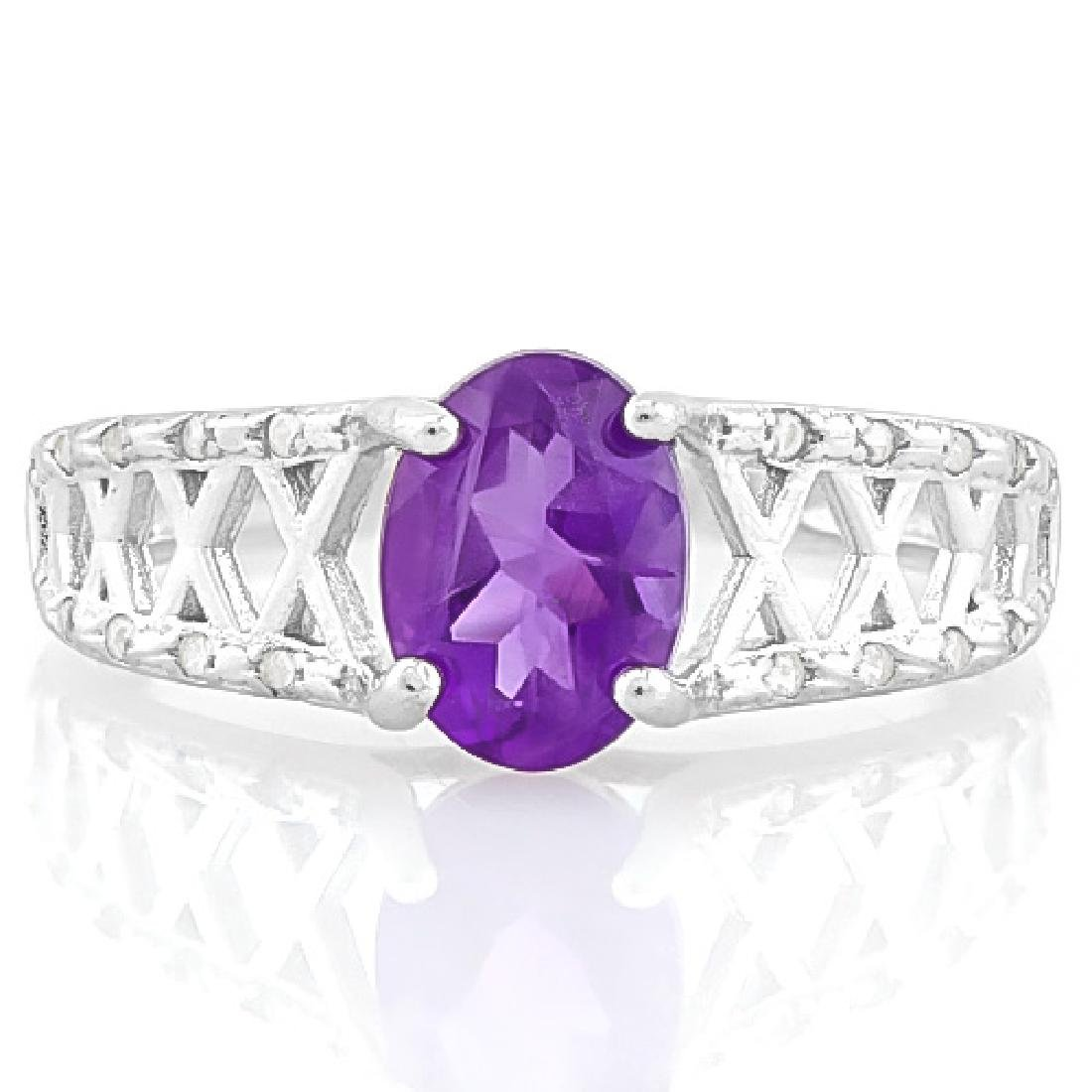 1 CARAT AMETHYST & (20 PCS) FLAWLESS CREATED DIAMOND 92